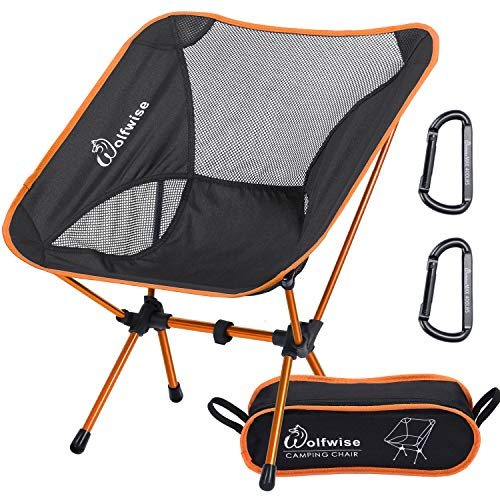WolfWise Ultralight Portable Camping Chair, Compact Folding Backpacking Lounge Chairs for Outdoor Picnic Beach Hiking Fishing with Carry Bag and Two Carabiner, Black+Orange ()