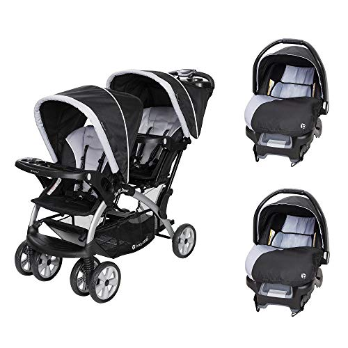 Baby Trend Sit N Stand Tandem Stroller + Car Seats (2) Travel System, Stormy (Double Stroller Travel System With Car Seats)