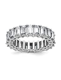 14k White Gold Eternity Wedding Ring Band G H I True Moissanite Size 7.00 Light Style Fine Jewelry Gifts For Women For Her
