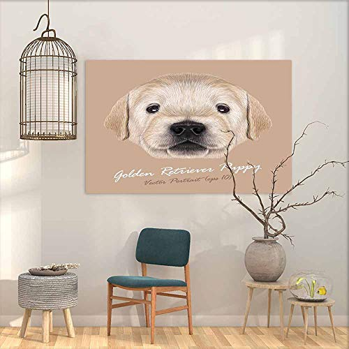 DuckBaby Abstract Painting Golden Retriever Dog Animal Cute face. Vector Little Cute Blond Golden Retriever Puppy Head Portrait. Home and Everything W47 xL31 4' Golden Retriever Face