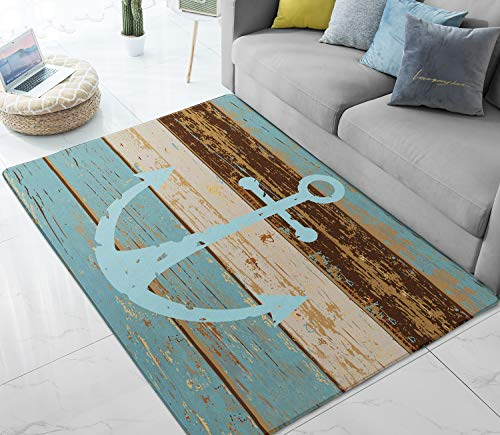 Area Rugs Nautical Anchor Large Floor Mat for Living Dining Dorm Playing Room Bedroom 5' x ()