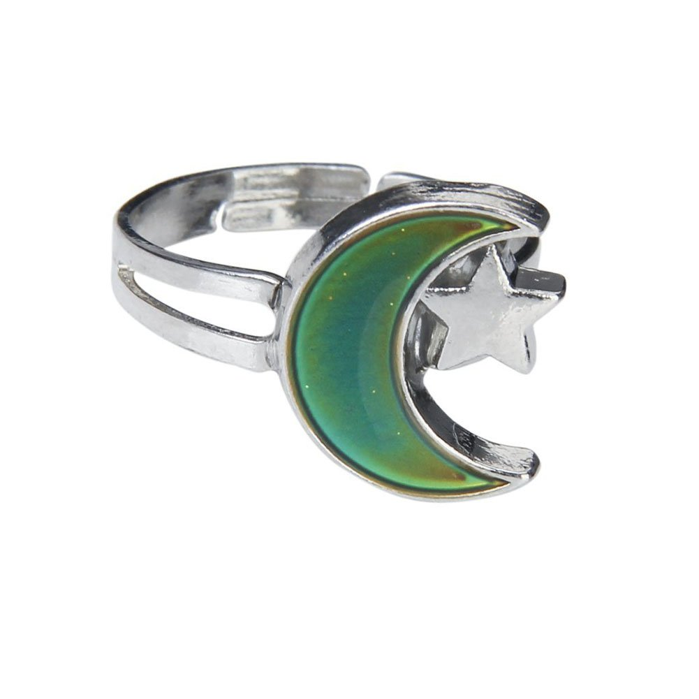 Beautiful Bead Moon and Star Shape Color Change Emotion Feeling Mood Ring Changeable Band Adjustable Finger Ring