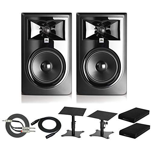 """JBL 305P MkII Powered 5"""" Two-Way Studio Monitors (Pair) Bundle with Desktop Speaker Stands, Knox Isolation Pads, XLR Cable and Breakout Cable (6 Items) from JBL"""