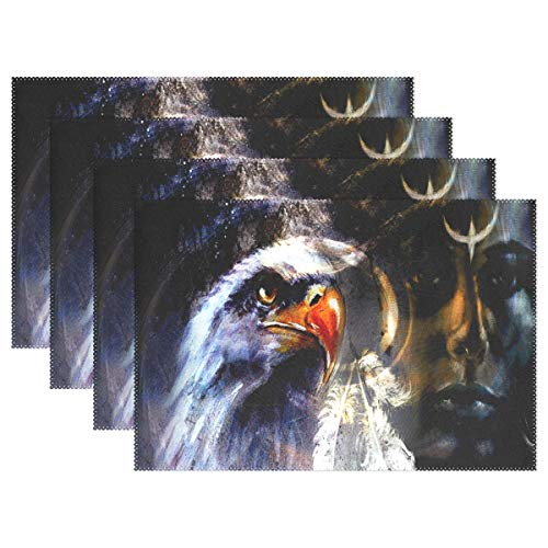 (NMCEO Place Mats Abstract Color Background of Local Women and Wild Animals Personalized Table Mats for Kitchen Dinner Table Washable PVC Non-Slip Insulation Set of 6)
