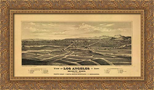 1877 Canvas Framed (1877 Los Angeles Map 24x14 Gold Ornate Wood Framed Canvas Art by Harbick, N.)