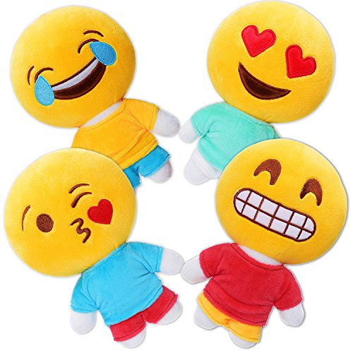 Emoji Plush Stuffed Baby Doll, 4 Sets Kids Puppets,Creative Figure Toys, Girls Boys Birthday Party Bag Fillers Wished Gifts, School Reward Prize. Housewarming Baby Dollhouse Decor Supplies favors