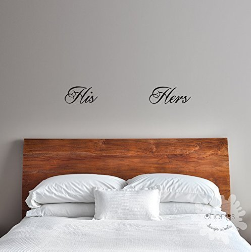 his and hers wall decal set bedroom wall decal bathroom wall decal door wall decal gift
