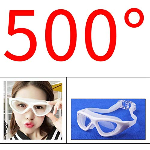 aJaxwux Swim GOGGLESSwim Mirror Wholesale Men's and Women's Large Frame Electroplating Flat Light/Short-sighted Swimming Mirror Waterproof Anti-Fog Diving Swimming Glasses 65x20x20 500 ()