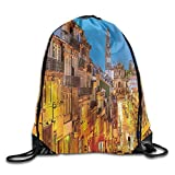 FYW European Cityscape Toward Church Old Chapel In Porto Mediterranean Town Streets Scenic Drawstring Bags Camper Backpack For Teens College