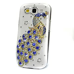 Crystal Bling 3D Peacock Case Cover For Samsung Galaxy S3 III i9300 (blue)