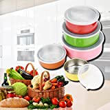 DZT1968 5pc/Set Stainless Steel Fresh Lunches Snacks Container Storage Bowl