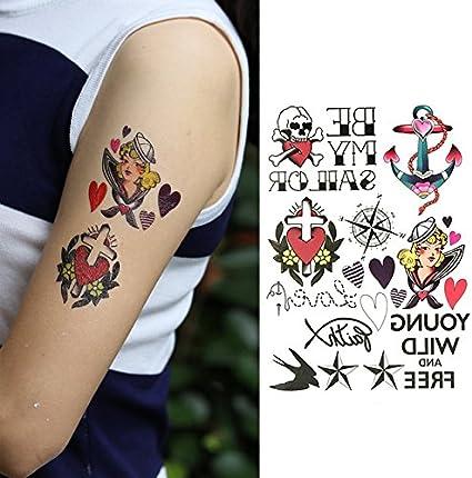 Oottati Tatuajes Temporales Muslo Brazo Brújula De Anclaje Cruz ...
