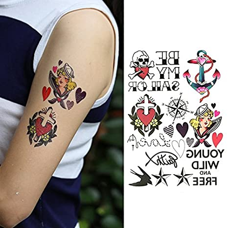 Oottati Tatuajes Temporales Muslo Brazo Brújula De Anclaje Cruz Del Corazón (2 hojas)