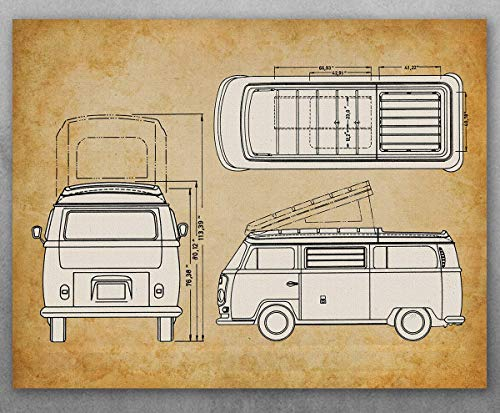 Poster - Volkswagen Type 2 Bus Patent - Choose Unframed Poster or Canvas - Makes a Great Gift for VW Fans