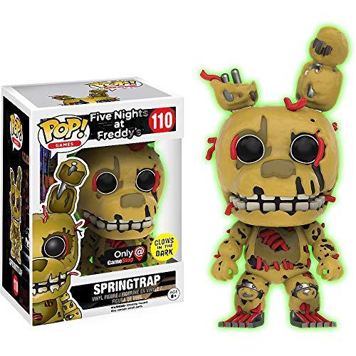 Funko Springtrap [Glow-in-Dark] (GameStop Exclusive): Five Nights at Freddy's x POP! Games Vinyl Figure & 1 PET Plastic Graphical Protector Bundle [#110 / 12708 - B] (Glow In The Dark Nightmare Freddy Pop)