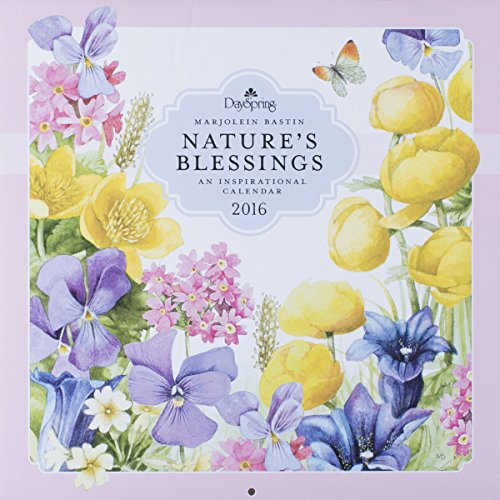 """DaySpring 12"""" x 12"""" 2016 12-Month Craft Paper Wall Calendar, Marjolein Bastin Nature's Blessings (72875)"""