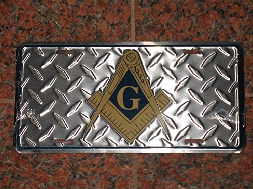 Mason Freemason Masonic Diamond Deck Style License Plate Auto Tag