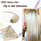 remy platinum - 18inch Platinum Blonde Clip in Remy Human Hair Extensions 100% Double Thread Long Straight Natural Hair Silky Hair for Women Lady Girls Beauty Salon(140g,#60)