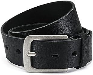 Eg-Fashion Herren Jeans-Gürtel 4 cm breit Ledergürtel aus Büffel-Leder - Schnalle im Used Look - Individuell kürzbar durch Schraubhalterung (Bundweite: 125 cm/Gesamtlänge: 140 cm, Schwarz)
