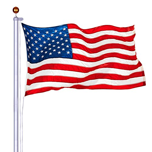 20 ft Grade Sectional Flagpole Kit Silver Aluminum Heavy Duty Outdoor Halyard Flagpole Free 3'x5' US Flag & Gold Ball In-Ground Pole and Hardware