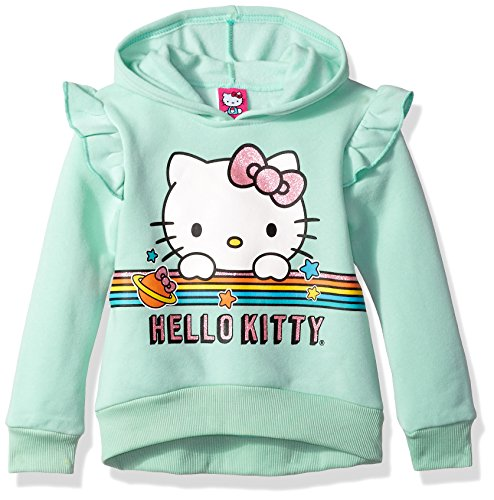 Screen Sweatshirt Hooded Print (Hello Kitty Little Girls' Hoodie with Screen Print Sugar Glitter Sequins, Mint, 5)