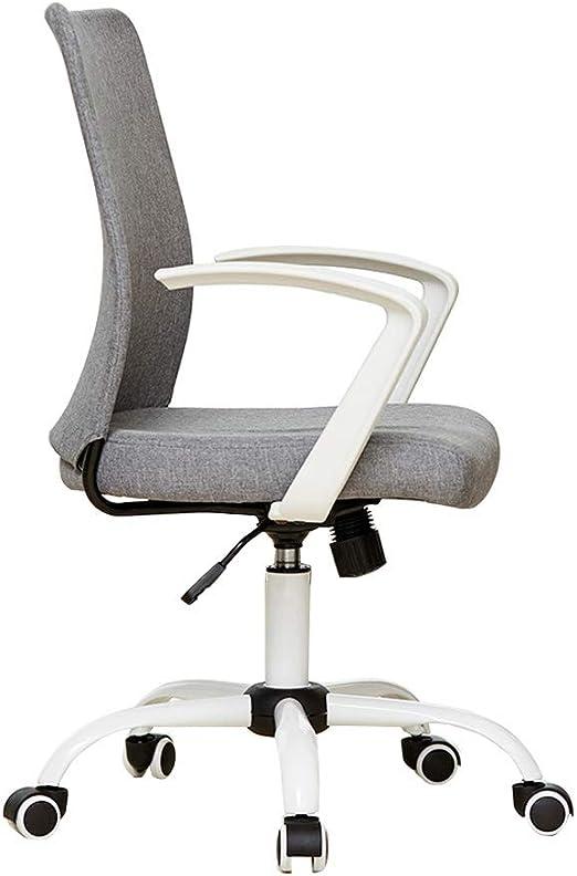 Silla ergonómica para Escritorio de Oficina con reposabrazos, sillas de Trabajo giratorias de Respaldo Medio 360 ° Sillón de Lino Desmontable Asientos de Malla de Altura Ajustable: Amazon.es: Hogar