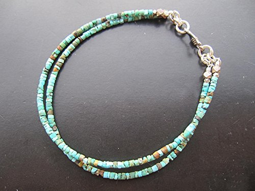 """Double strand Tiny Afghan Turquoise seed beads Bracelet,Karen Hill Tribe Silver Clasp,Custom size 6.5"""",7"""",7.5"""",8"""""""