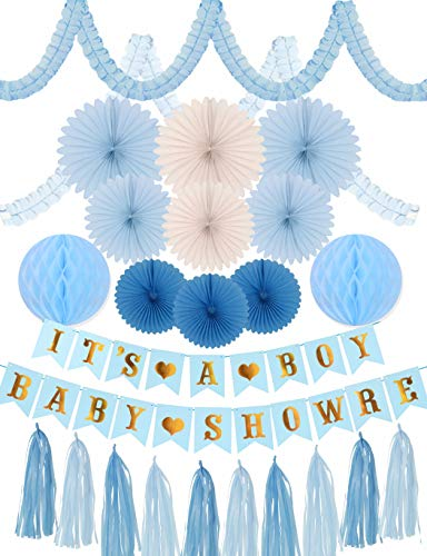MEANT2TOBE Baby Shower Party Decoration Blue and Gold for Boy   It's a Boy Baby Shower Décor   Baby Shower Banner   It is a Boy Blue and Gold Party Decoration Supplies Bundle (Baby Shower Decoration) - Shower Streamer Baby