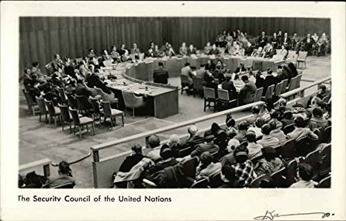 United Nations Security Council In Session at Interim Lake Success Location Original Vintage Postcard