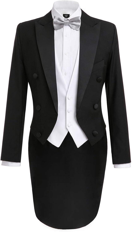 LILIS Men's Fashion 3 Piece Black Tuxedo Tails Includes Tailcoat Vest& Formal Pants