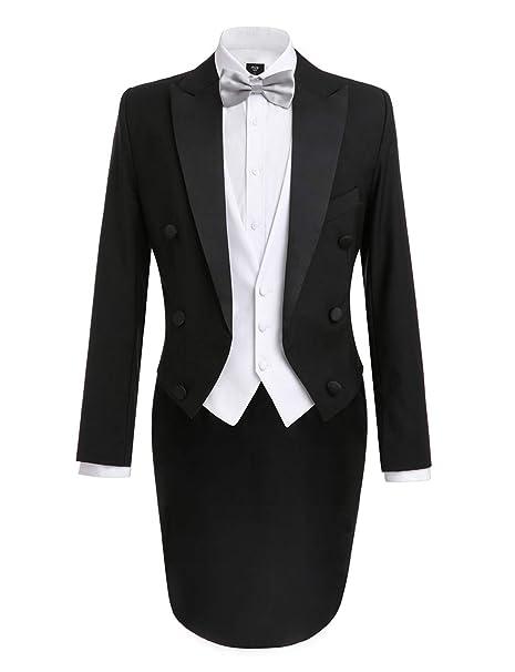 Amazon.com: Lilis Hombres la moda de 3 piezas Negro esmoquin ...