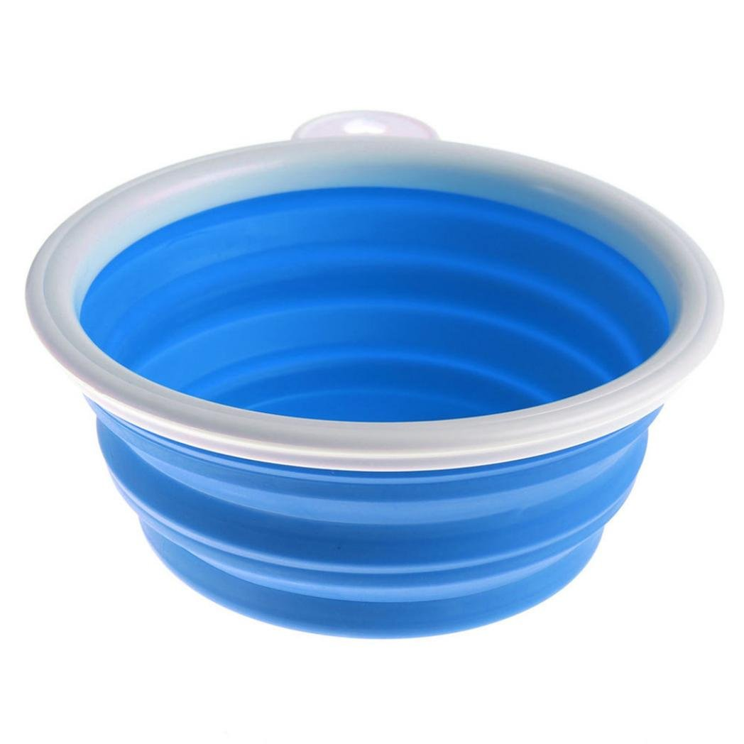 Pet Travel Bowl,Starlit Collapsible Soft Silicone Feed Water Bowl for Dogs Cats (Blue)