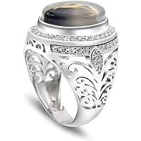 خاتم عقيق معدني من الفضة الاسترليني 925 من ميتال مادمان، خاتم عقيق طبيعي اصلي مقاس 7 الى 12