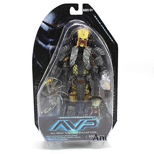 PLAYER-C Alien Vs Predator Masked Scar Predator and Scar Predator PVC Action Figure Collectible Model Toy -