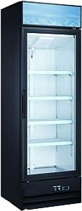New Single Door Upright Retail Merchandiser Display Freezer with Triple Paned Glass Door; 13 Cubic Ft.