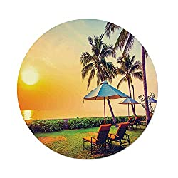 iPrint Polyester Round Tablecloth,Seaside,Empty Umbrella and Chairs on the Beach Palm Trees at Twilight Times Vacation Theme,Multicolor,Dining Room Kitchen Picnic Table Cloth Cover,for Outdoor Indoor