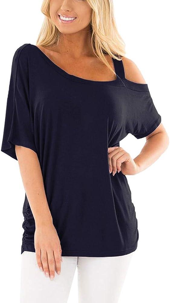 Camisa Manga Corta Mujer O-Cuello Casual Color Sólido Hombro Descubierto Mujer Verano Informal Camiseta T-Shirt Tops Blusa Túnica para Mujer Wyxhkj (L, Azul Marino): Amazon.es: Ropa y accesorios