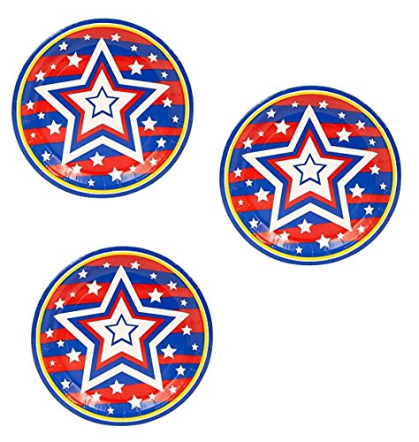 Fourth of July Patriotic Party Supply Bundle (Pack of 60, 7 Inch Plates) -