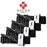 Recon Medical Tourniquet - (Black) GEN 3 Mil-Spec Kevlar Metal Windlass Aluminum First Aid Tactical Swat Medic Pre-Hospital Life Saving Hemorrhage Control Registration Card, AOS (4 Pack)