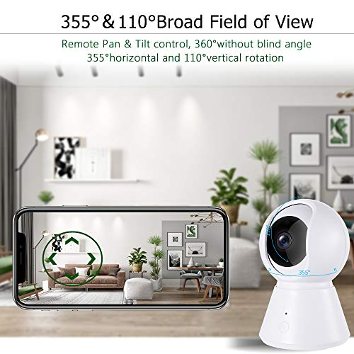 1080p Home Security Camera Pan/Tilt/Zoom - YI Cloud Storage Smart App,  Wireless IP Indoor Surveillance System - Night Vision, Motion Detection,  Remote