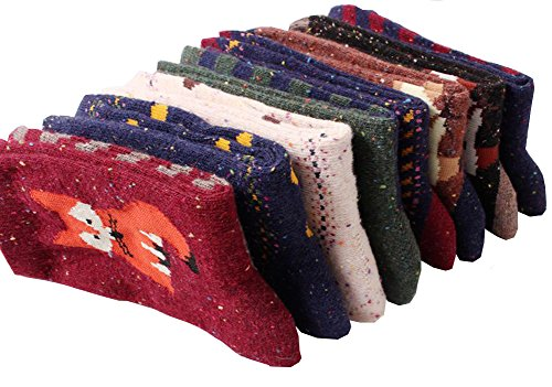 Design Wool Blend - Tusong Womens 5 Pairs Women Animal Design Soft Wool Cotton Blend Socks, Fox / Wolf, One Size