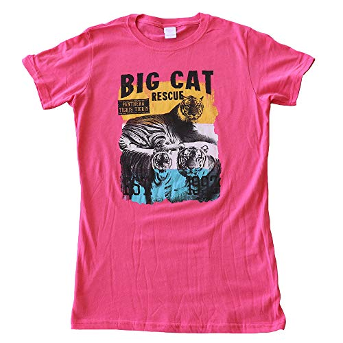 - Big Cat Rescue Tee Shirt - Texas Tiger Trio Women's Fitted T-Shirt Pink