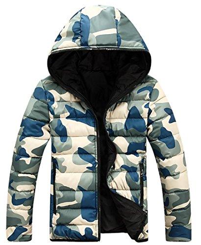 Blu Comprimere Piumino Inverno Cappotto Fulok Cappuccio Caldo Con Mens Parka Camo IUvPIw