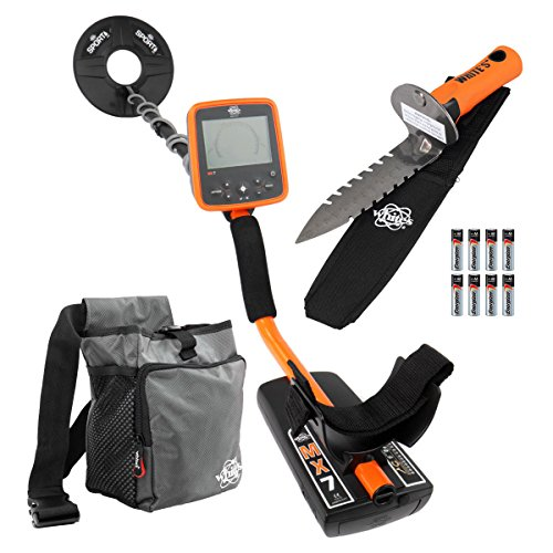 Whites MX7 Metal Detector Bundle, Digmaster Digger, Pouch & 9.5' Search Coil