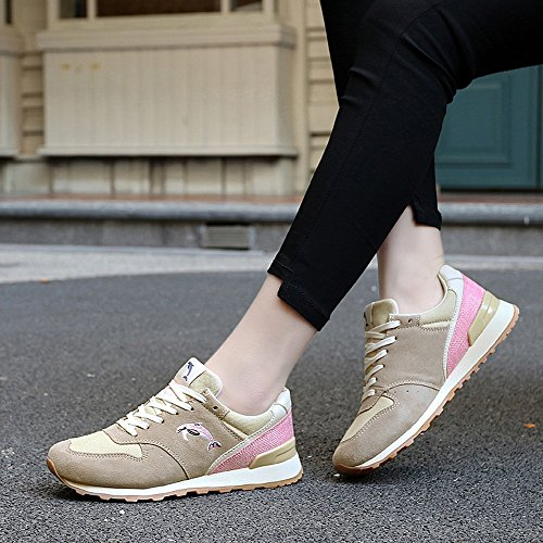Enllerviid Vrouwen Lace Up Lifestyle Fashion Sneakers Casual Atletische Sportschoenen Bruin 701 Bruin
