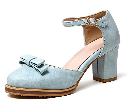 Easemax Womens Sweet Bowknot Round Toe Buckle Strap Medium Block Heels Pumps Shoes Blue UI3e4
