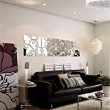 nursery decorating ideas SIDIA Home Wall Stickers Mural Art Decor Removable Waterproof Tv Combination Mirror Wall Mount, Stylish Living Room Decorating Ideas Wall-,3030cm, Four Black