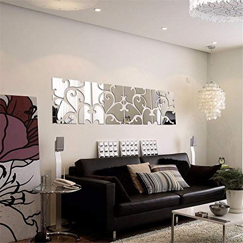 SIDIA Home Wall Stickers Mural Art Decor Removable Waterproof Tv Combination Mirror Wall Mount, Stylish Living Room Decorating Ideas Wall-,3030cm, Four Black