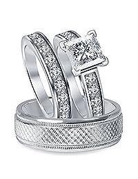 1.25 CT Princess White CZ Diamond 14K White Gold FN Alloy His & Her Trio Ring Set