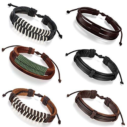 Aroncent 6 PCS Women Men Rock Bracelet Handmade Braided Leather Rope 8.5-11.2 Inch Adjustable